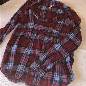 Plaid Flannel Peplum Top